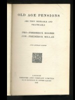 Old Age Pensions; Are They Desirable or Practicable